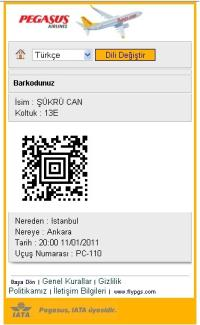 Pegasus Hava Yolları Türkiye'de İlk Defa  Barkod İle Mobil Check-In İşlemini Başlattı...